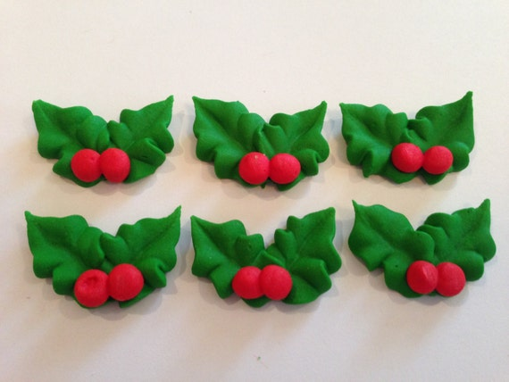 Royal icing Holly leaves with berries LOT of 100