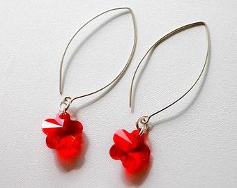 SALE-Red Swarovski Flower Sterling Silver Earrings, Light Siam Earrings, Minimalist Sterling Silver Dangle Earrings Jewelry, design by behin