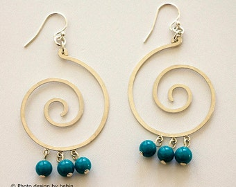 Turquoise Lampwork Glass with large Sterling Silver Spiral Earrings, Bridal Wedding Jewelry, Modern Statement Earrings, Turquoise jewelry