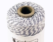 BOLD Bakers Twine 240 yard spool STONE GREY & White Twine String for crafting, gift wrapping, packaging, invitations