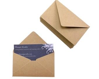 Business card envelopes - 10 Kraft brown envelopes - 2 1/8 x 3 5/8 - love notes, gift enclosure, packaging