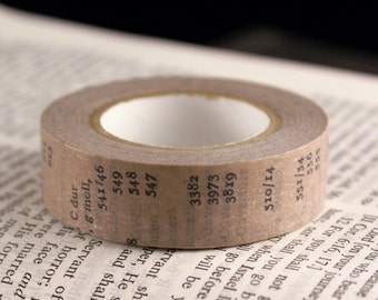 Classiky Japanese Washi Tape - Antique Old Book Sand Brown washi masking tape with Letters & Numbers