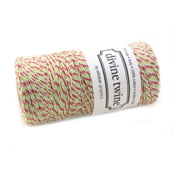 Studio Sale - Bakers Twine 240 yard spool - CHRISTMAS Red, Green & White Bakers Twine String for crafting, gift wrapping, packaging