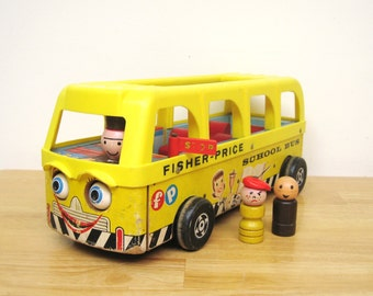 ON SALE - Vintage Fisher Price Safety School Bus
