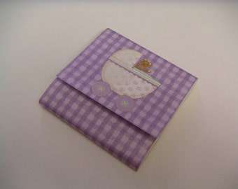 Lavender Gingham Sticky Notes Pad with Teddy Bear and Baby Carriage
