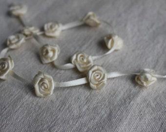 IVORY ribbon rosette flower trim