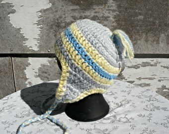 Snow Cap with Earflaps, 3 to 6 Months, Fuzzy Gray, Blue and Yellow, Crocheted