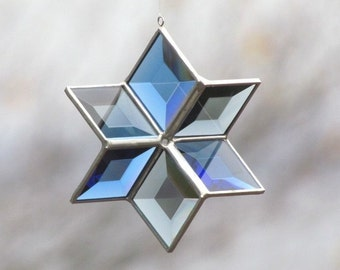 Stained Glass Star Suncatcher - Blue Grey Gray Geometic Hanging 3D Beveled Glass Six Point Star Ornament