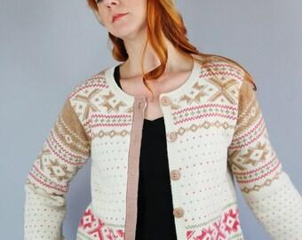 SALE - Vintage Cream Pink Beige Nordic Snowflake Wool Cardigan Sweater