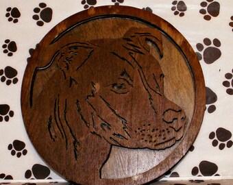 Staffordshire Terrier  Pit Bull Handmade Fretwork Wood Art Dog Breed Portrait by dogWoodbyDave on Etsy