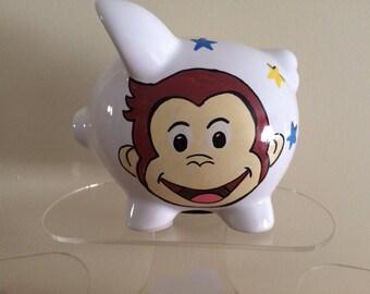 Personalized Curious George Piggy  Bank  -Newborns , Boys , Girls , Ring bearer,Christams,Baby Shower Gift Centerpiece