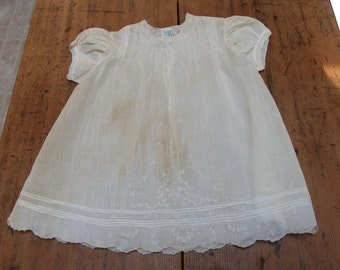 BABY DRESS, 1950's, Cherubs Brand Hand Made, Size 1, Stained and Faded but Beautiful, Vintage Infant, Doll Clothing