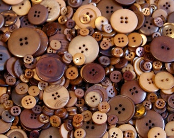 100  Brown Button Mix, Honey Caramel, Chocolate, Golden Brown, Pecan, Sewing, Crafting, Jewelry, Collect  (1385)