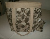 Small Upholster Fabric Tote with Clip On Cell Phone Pouch