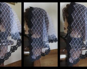 Black White  Floral Net Lace  Mass/Church Mantilla Scarf Veil- already made -