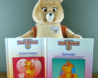 Classic 80's Teddy Ruxpin Books, Set of 2 Featuring Grubby, Wonderful Bright Illustrations, Easy to Read, Valentines Day or for Birthday