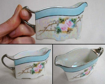 Vintage Miniature Pitcher or Creamer, Iridescent Luster Glazed Ceramic, Pink Rose Design