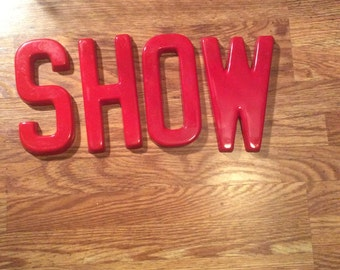 Vintage Red Plastic Store Sign Letter O