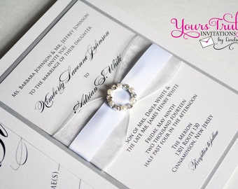 Sample - Ribbons and Pearls Crystal Buckle Silver and White Wedding Invitation or Shower personalized for you in your colors or Glitter