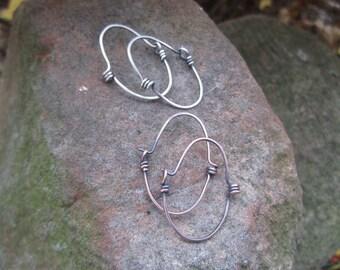 Smaller, Industrial looking Spiral Hoop Earrings in Sterling Silver or Copper- 'StonePeace Hoops'