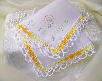 Yellow Handkerchief, Hand Crochet, Embroidered, Personalized, Monogrammed, Ladies Handkerchief, Lace, Floral, Bridal Party Gift, Hanky