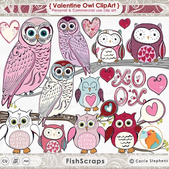 Pink & Purple Valentine Owl ClipArt, Cute Owl Digital Graphics, Girls Valentine Cards,  Instant Download, Printable Scrapbooking