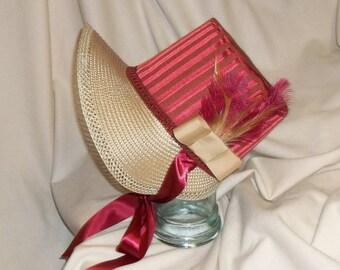 Red and Ivory Stovepipe Bonnet- Regency, Georgian, Jane Austen Era Bonnet