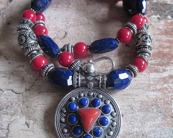 Lapis and Coral Sterling Necklace -- Sterling Lapis Red Coral Pendant