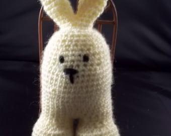 Hand Crocheted Two Legged Bunny - Yellow
