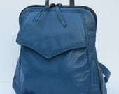 LEATHER BACKPACK   Royal Blue with Black