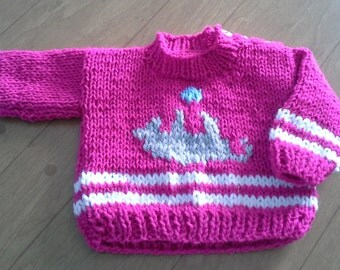 Handknitted Crew Neck Girls Pullover Sweater/Kittens