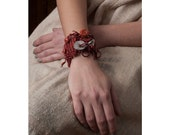 Red Burgundy and Red Orange Woven Leather and Crocheted Bracelet,Sterling Silver Disk and Corals OOAK