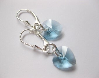 SS Birthstone Heart earrings Sea glass jewelry Swarovski crystal earrings aquamarine