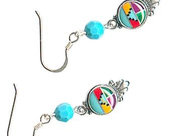 sterling silver feather fringe inlaid Zuni-style Southwest earrings Austrian Swarovski crystal