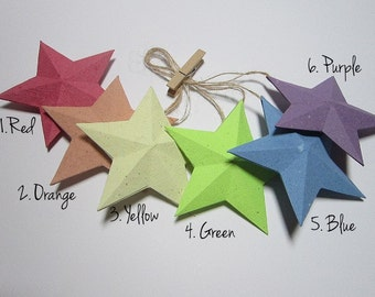 3D Paper Star - Christmas Ornament - 3D Star Hang Tags - Recycled Home Decoration