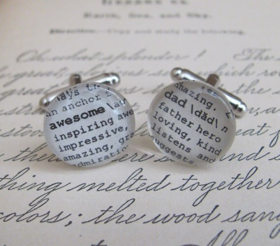 Awesome Dad Cuff Links Dictionary Cuff Links for Father's Day, Husband, Anniversary, Christmas by Kristin Victoria Designs