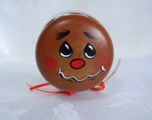 SALE-Candy jar, Cookie jar, hand painted jar, gingerbread man, glass candy jar, jars and containers