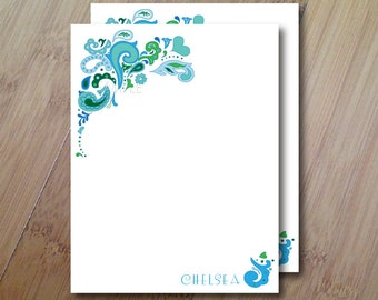 Floral, Set of 10 Personalized Stationary Flat Note Cards, Professionally Printed