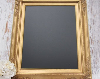 GOLD FRAMED CHALKBOARD Kitchen Magnetic Memo Board Home Decor Framed Gold Frame Home Office Decor Gold Wedding Decor