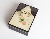 Vintage 80s Mira Fujita Clown in White Jewelry Music Box
