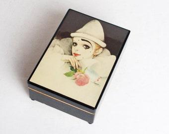 Vintage 80s Mira Fujita Clown in White Jewelry Music Box