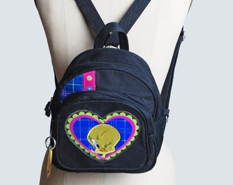 Vintage 90s TWEETY BIRD BACKPACK / Neon Plaid Heart Purse