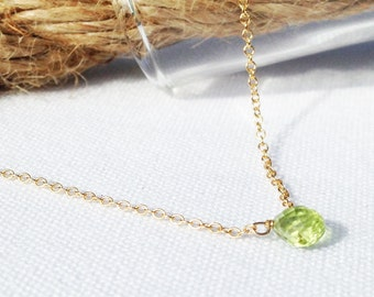 Gold Peridot Necklace, August Birthstone, Gold Necklace, Layered Necklace, Tiny Gemstone, Dainty Necklace, Petite Necklace, 14k gold filled