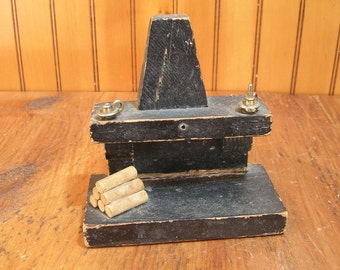 Miniature Primitive Colonial Style Fireplace, Doll House Furnishing