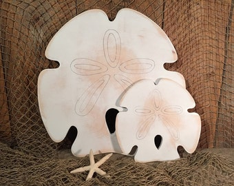 Wooden Sand Dollar-Indoor Ocean Beach Decoration - Set of 2