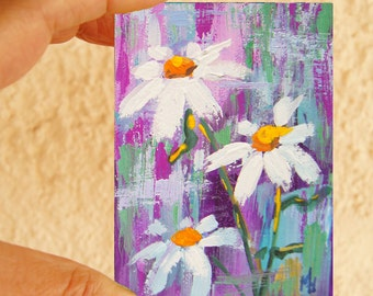 Flower ACEO painting - Mini art trading card, original ATC - Daisies watercolour, gouache floral daisy painting, original ACEO