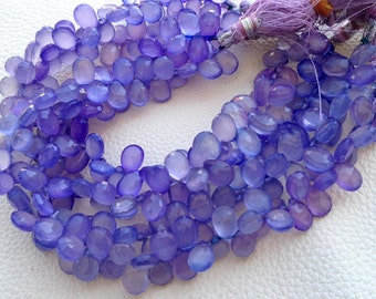 Brand New, Full 8 Inch Strand, 10mm Pear Lavender Blue Chalcedony Faceted Pear Briolettes,GORGEOUS.