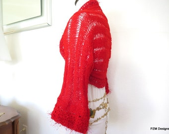Fancy red knit sweater shrug, sparkly hand knit bolero, red cardigan sweater jacket