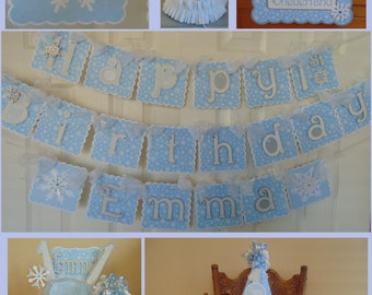 FROZEN WINTER ONEDERLAND 1st Birthday Party Package princess Christmas party package birthday baby shower