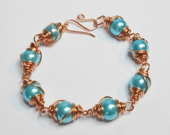 Blue and Copper Wire Wrapped Bracelet With Handmade Toggle